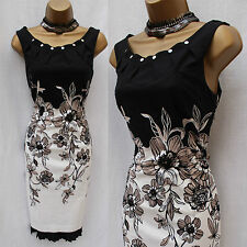 KAREN MILLEN Black Ivory Floral Print Pleat Cocktail Wiggle Pencil Dress 10 UK