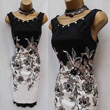 KAREN MILLEN Black Ivory Floral Print Pleat Cocktail Wiggle Pencil Dress 10 UK