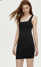 Pull And Bear Black Ribbed Strappy Fitted Mini Dress Bodycon Square Neck XS New