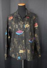 Keren Hart Black Cotton Jacket w/Gold Design & Multi-Color Patches Women's Sz XL