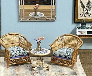 1:16 Dollhouse cane rattan two armchairs set petit floral blue - Lundby scale