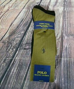 NWT MENS POLO RALPH LAUREN 3 PAIRS VISCOSE ANTIMICROBIAL ARCH SUPPORT SZ 10-13