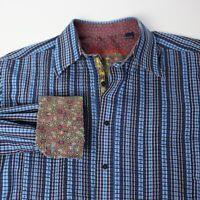 Robert Graham large blue white plaid long sleeve button up dress shirt flip cuff