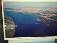 VINTAGE POST CARD AERIAL VIEW CONFLUENCE OF SNAKE RIVER & COLUMBIA RIVERS,WA