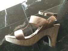 SAM & LIBBY Slimalibu Brown Strappy Buckle Heels Sandals Shoes Size 10 M