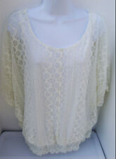 ULTRA PINK IVORY LACE POLYESTER ¾ SLEEVE CASUAL EVENING BLOUSE TUNIC TOP 2X NEW