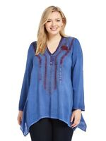 new ANDREE BY UNIT Johnny  embroidered tunic blouse shirt top 1x sharkbite hem