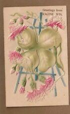 Greetings from Racine, WI Wis Wisconsin on deeply embossed flower postcard