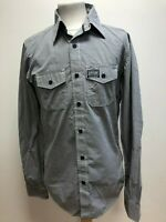 GG101 MENS SUPERDRY GREY WHITE CHECK FITTED SHIRT UK MEDIUM EU 50