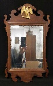 Antique Period 18th Century Chippendale Mirror Original Glass