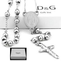 """DG Stainless Steel,Silver 25"""" Beaded Rosary VIRGIN MARY+JESUS CROSS Necklace.BOX"""