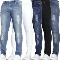 Mens Skinny Super Stretch Fit Rip And Repair Ripped Denim Jeans Waist VOID