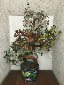 Large Chinese Jade Tree with Cloisonne Pot (local pick up only or freight)