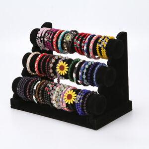 3-Tier Jewelry Watch Bracelet Holder Display Stand 3-Bar Organizer Rack Black