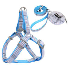 Nylon Dog Step In Harness Leash Set with Treat Bag Pet Puppy Cat Strap Vest Blue