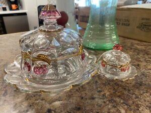 Vintage Westmoreland Cherries Child & Large Butter Dish Pair