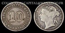 STRAITS SETTLEMENTS 10 cents 1898 Queen Victoria Argent 2.60gr