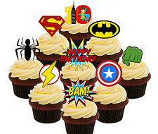 10th Birthday Superhero Edible Cup Cake Toppers, 36 Stand-up Decorations Boy