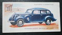 HUDSON EIGHT  Saloon Car    Original 1937 Vintage Card  VGC