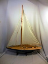 """LARGE 24"""" HAND CRAFTED VINTAGE WOOD MODEL SAILBOAT WITH 3 SAILS AND STAND"""