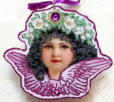 Glittered Wooden Ornament~Victorian Angel with* Purple Wings*~ Vintage Image