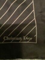 VINTAGE CHRISTIAN DIOR MENS SILK LOGO HAND ROLLED POCKET SQUARE SCARF 18 x 18