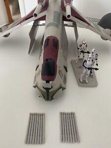 Star Wars REPUBLIC CRUMB BOMBER Gunship & 3 Clone Troopers