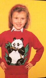 Save The Panda Sweater, Childrens & Adults Jumper Knitting Pattern