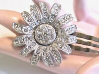 VINTAGE RHINESTONE DAISY FLOWER HAIR ACCESSORY MINI FLIP TO HOLD FLORAL COMB