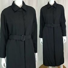 Prada Vintage Womens Black Belted Long Winter Jacket Trench Coat Overcoat Medium