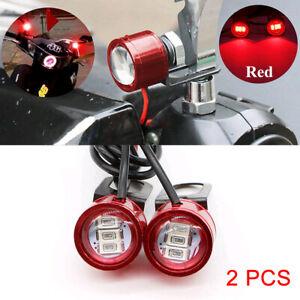 2Pcs 12V Motorcycle Rearview Mirror Eagle Eye 3 LED Flash Strobe Lights DRL Red