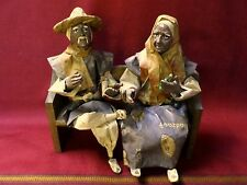 Vintage Mexican Folk Art Paper Mache Man and Woman on Bench Beer Football