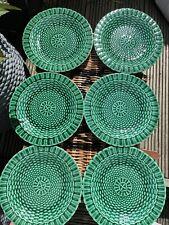 More details for antique green majolica plates 22cm edge malkin co 1870-1902 basket weave woven