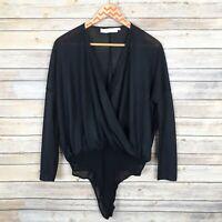 Astr The Label Womens Bodysuit Long Sleeve Semi Sheer Black Size Small