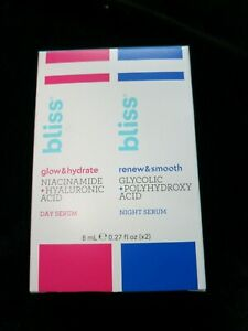 Bliss Exfoliating Renew/smooth Night Serum & Bliss Glow/hydrate Day Serum