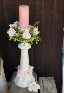 Solid Wood Pedestal Pillar Candle Holder Blush Pink Floral Shabby Chic Wedding