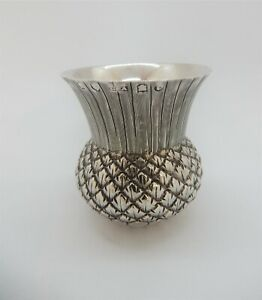 SCOTTISH Victorian Solid SILVER Novelty THISTLE Salt CELLAR, Edinburgh 1884 24g