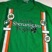 Lucky Irish Clover St. Patricks Day Men Short Sleeve Tee T Shirt XXL 2XL Green