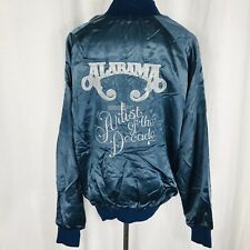 Vintage 80s Alabama Country Music Artist Of The Decade Blue Satin Jacket Large