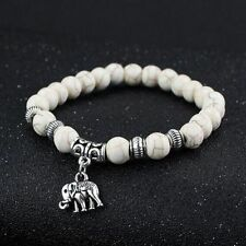 Elastic Jewelry Tibetan Party Elephant Pendant White Turquoise Beads Bracelet