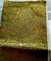 """Vintage Gold & Green Upholstery Fabric Floral 1 1/8 yard 44"""" wide"""