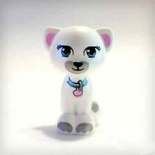 LEGO - Cat Sitting with Lavender Eyes, Collar and Gray Markings Pattern - White