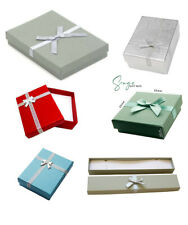 Jewellery Gift Box Earrings Bracelet Necklace Grey Silver Blue Red Boxes