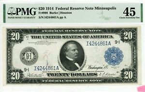 $20 1914 Federal Reserve Note Minneapolis  Fr#998  I4244861A  PMG 45