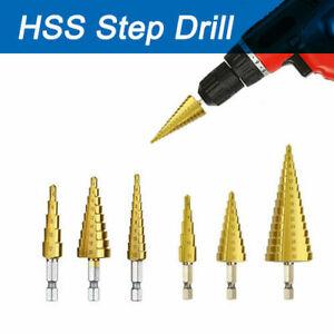3PCS Step Drill Titanium Coated HSS Metal Cone Hole Cutter Bit Set+UK Blue Pouch