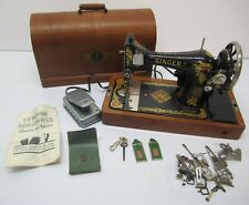 Vtg 1921 Singer Electric Sewing Machine Model 128 W/ Wood Case & Accessories