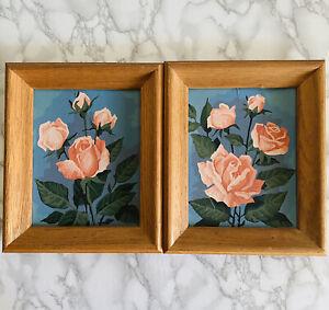 Pair Vintage 60s Art Paint by Number PBN Roses Floral Still Life Oak Wood Frame