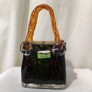 Italian Art Glass Murano Style Vincenza Style Animal Print Glass Handbag VGC - 8