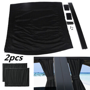 2Pcs Car Black Sun Shade UV Curtains For Front Side Window Interior Accessories