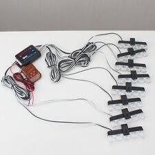 White 8X4 LED Wireless Control Car Police Flash Strobe Emergency Warning Light